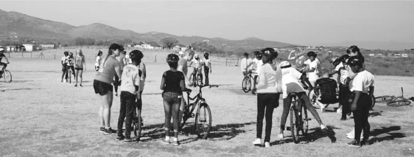 kids learning to ride bikes in South Africa