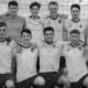 men's football team picture in black and white