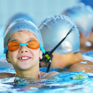Child at swimming lessons